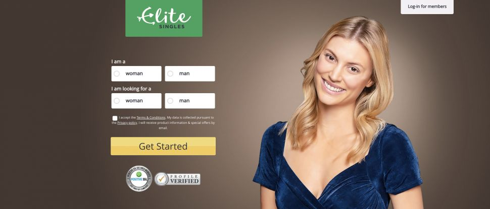 Homepage of Eliite Singles dating site with blonde woman