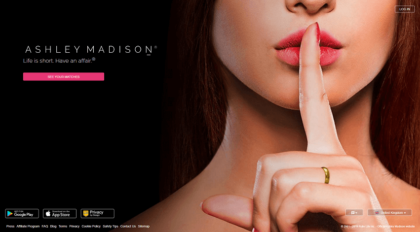 landing page for ashley madison. asthetically beautfiul shot from a single woman keeping the affair a secret.