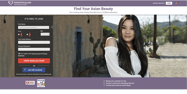 Asian Dating Homepage with beautiful Asian young Lady smiling