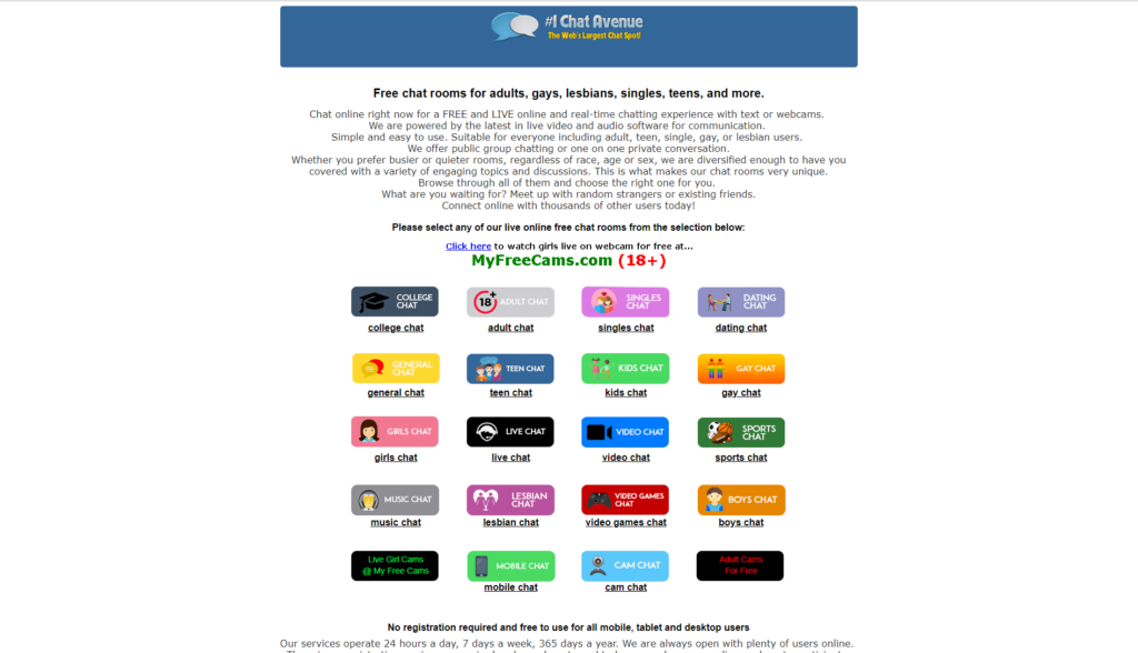 Homepage of chat avenue with many chat rooms categories