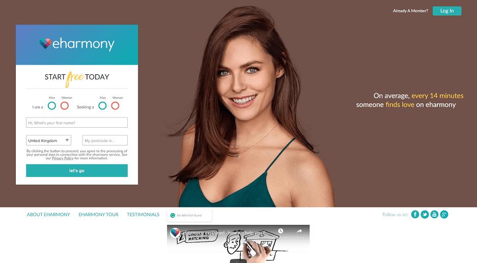 eharmony regitration screen with a pretty single woman