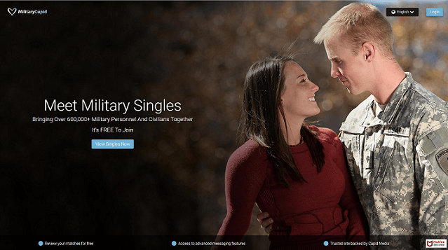 Militay Cupid Home Page, a soldier and a beautiful woman in love look at each other