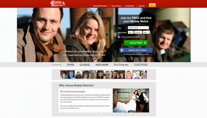 login screen of muddymatches.com. young attractive single farmers visible in the background smiling in the camera.