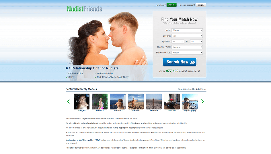landing page of polish dating.com in the top left there is a seemingly nude couple or two nude singles about to engage in love. slight overview of profiles visible as well.