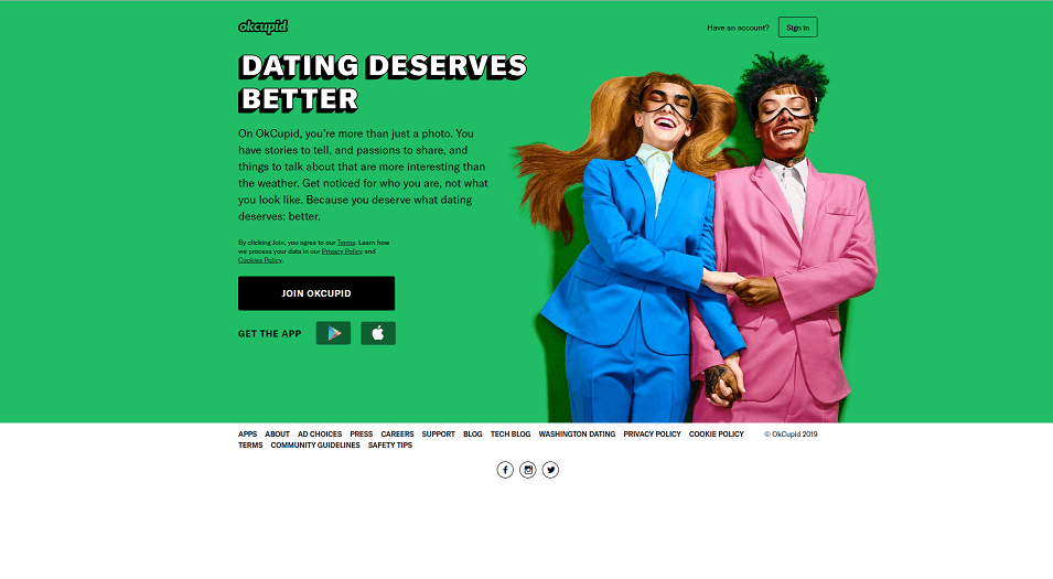OKCupid dating app homepage. One of the biggest dating apps in UK