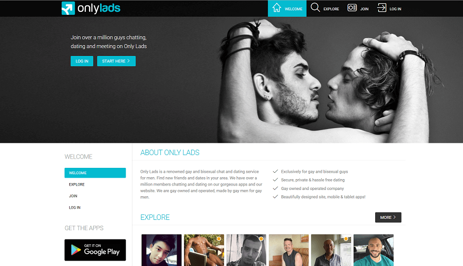 landing page for only lads site. two dating gay singles in the background engaging in homosexual intimacy.