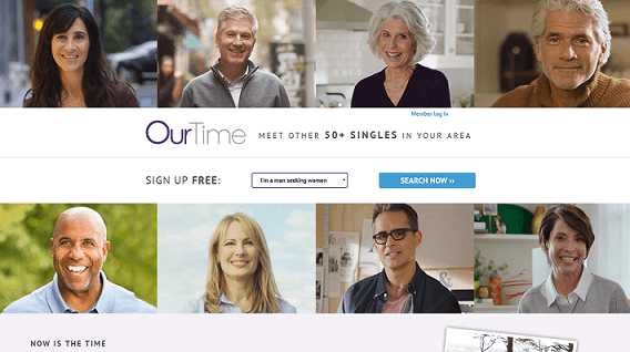 OurTime homepage, various profile pictures of men and women over 50 looking happy and attractive