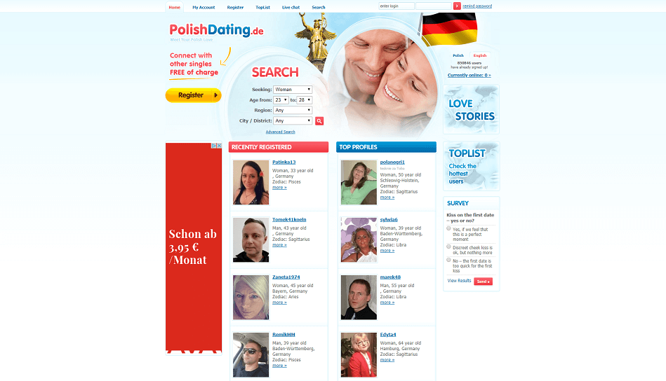 landing page of polish dating.com. very simple design of the online datig site for polish singles. slight overview of profiles and filter search options.