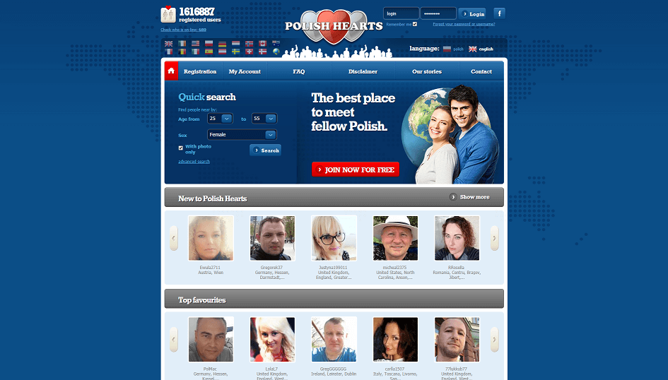 """landig page polish hearts. overview of young polish singles categorized into """"new"""" and """"top favourites"""""""