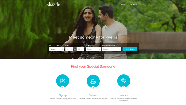 Shaadi´s Homepage, a cute young couple in love enjoy some spare time together