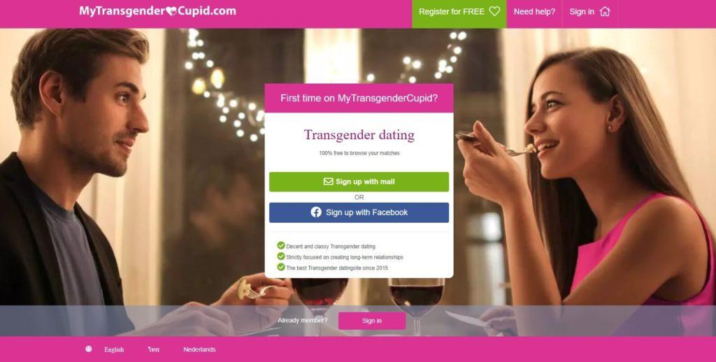 my transgender landing page displaying couple having a nice dinner