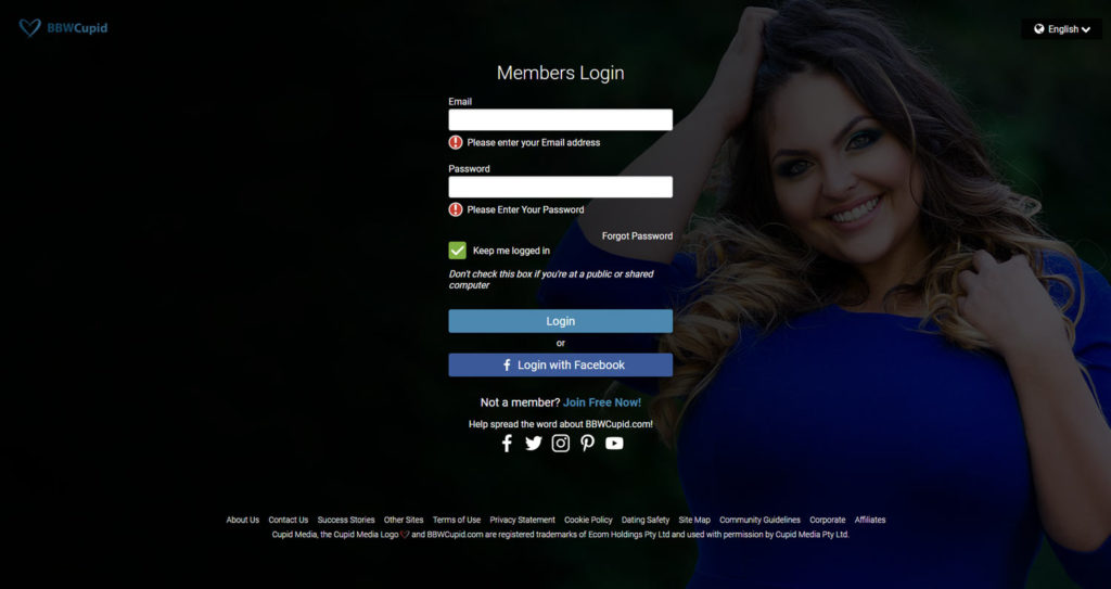 login screen of bbw cupid with curvy attractive single in the background