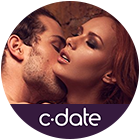 C-date logo at the bottom and a couple making out
