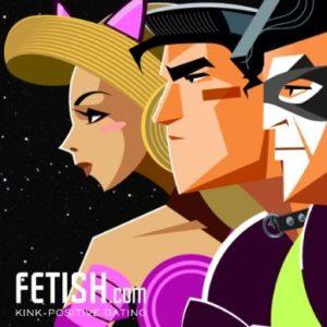 Fetish.com cartoon logo with three masked faces