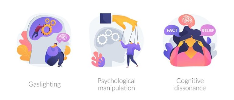 3 images depicting gaslighting, psychological manipulation, and cognitive dissonance