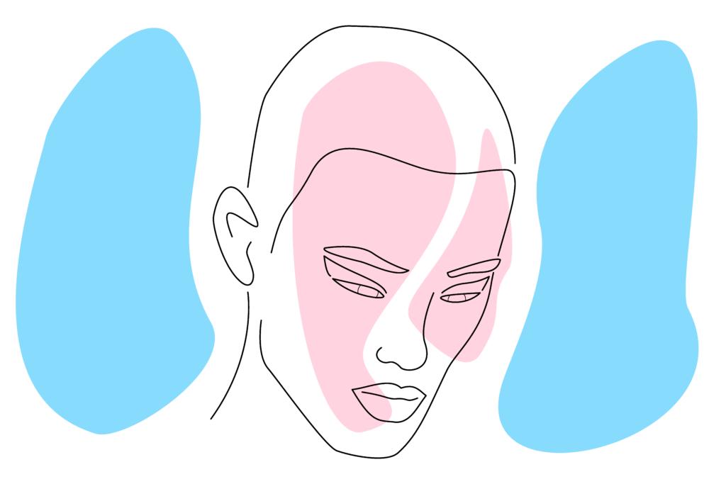 Vector image of a sad trans person