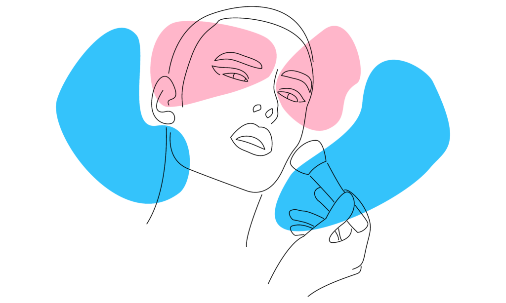 Vector image of a trans person applying make-up
