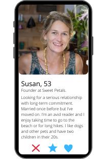 Dating profile example of Susan on a smartphone