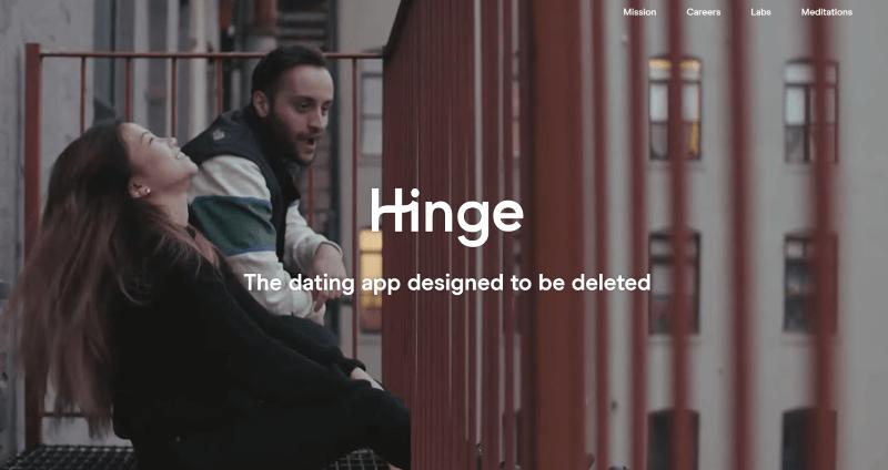 Screenshot of Hinge Landing Page