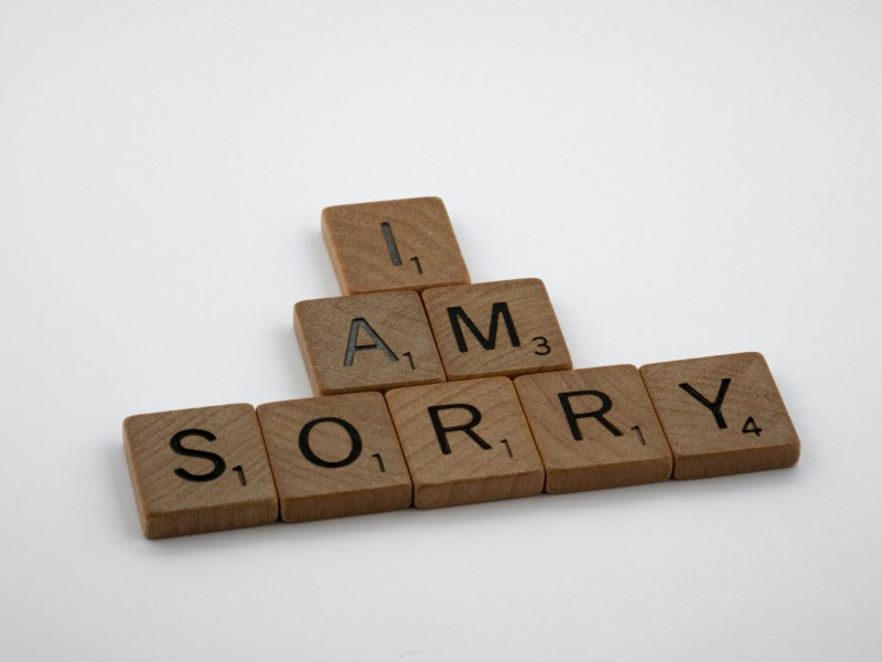 I am sorry written with scrabble letters