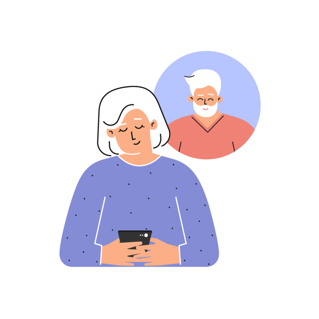 Mature woman texts via smartphone