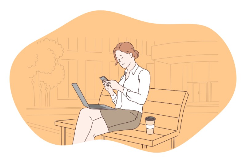 vector art of a woman making a dating profile