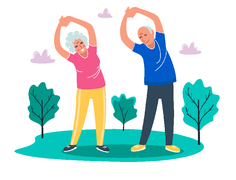 Vector picture from an over 50 couple stretching on a park