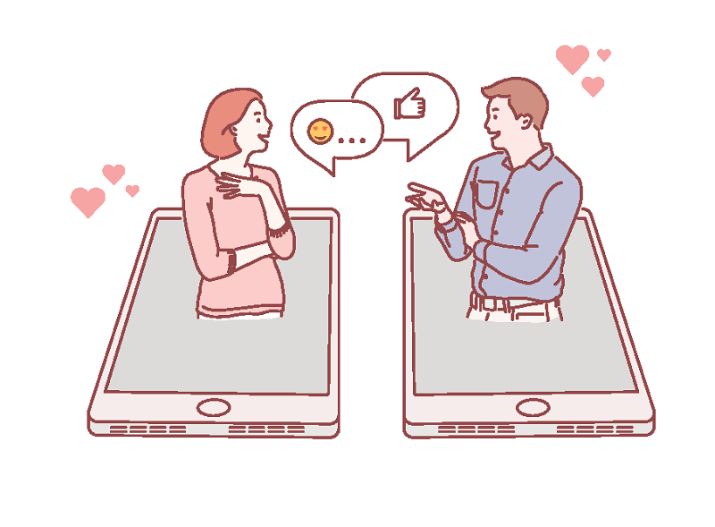 vector art of a woman and man chatting online
