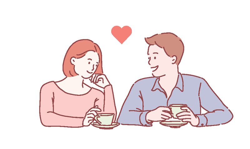 vector art of a woman and man falling in love with each other