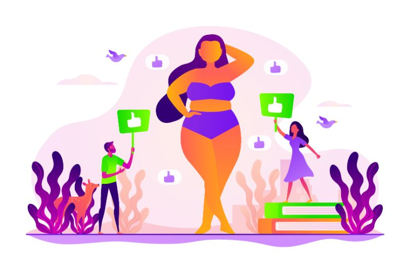 Body positive image of a woman getting compliments, vector art