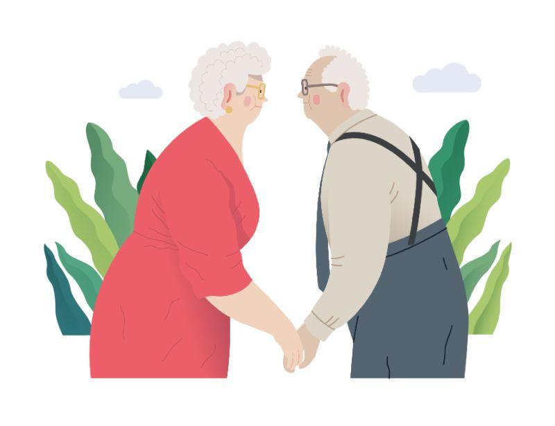 vector art of senior couple