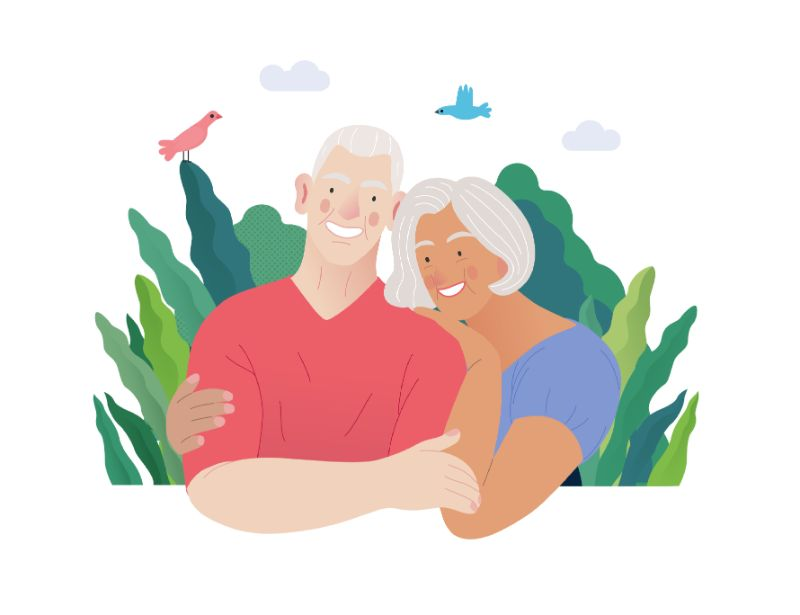 vector art of couple over 50 hugging