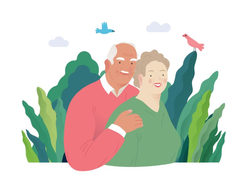 vector art of couple in their fifties