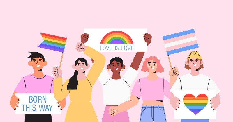 illustration of a diverse group of people protesting for queer acceptance