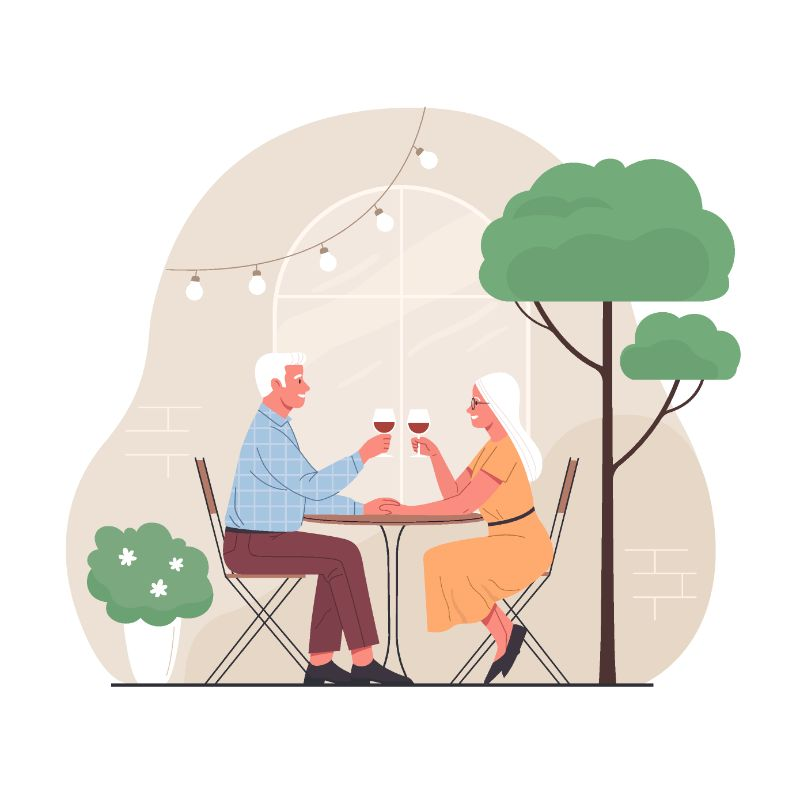 vector art of two seniors on a date drinking wine