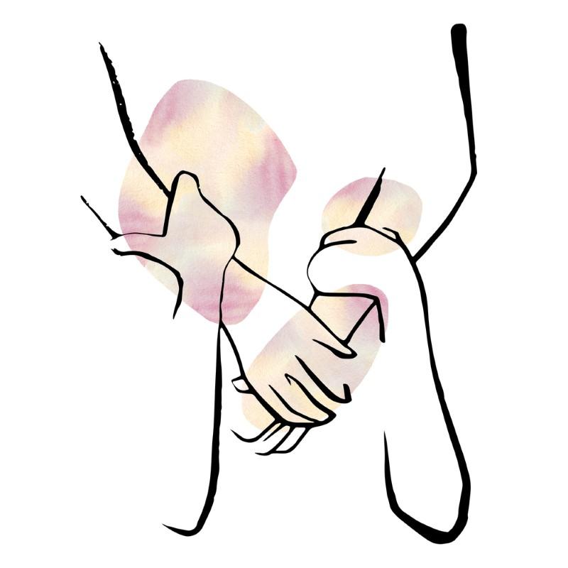 line art of taking someone's hand