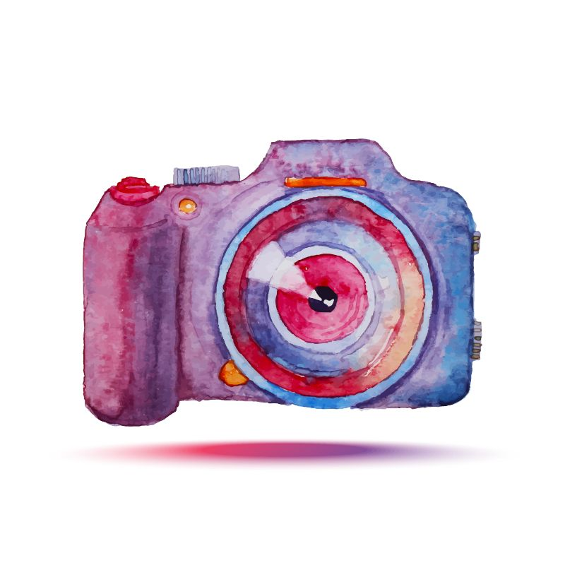 camera drawn in water colors