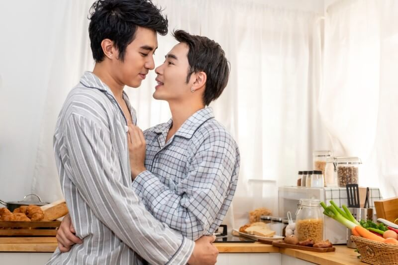 asian male couple in pajamas