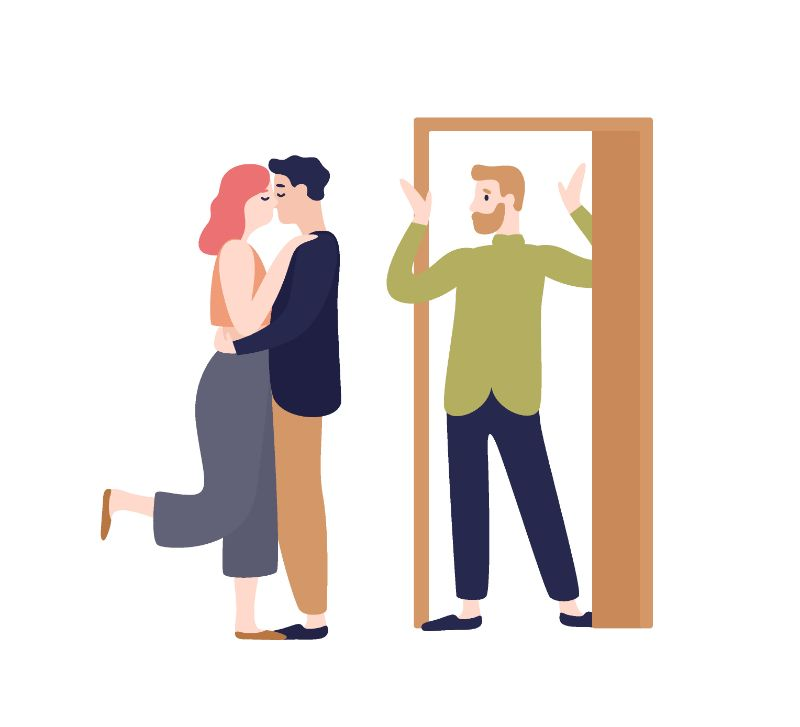 vector art of couple kissing and second man looking at them surprised