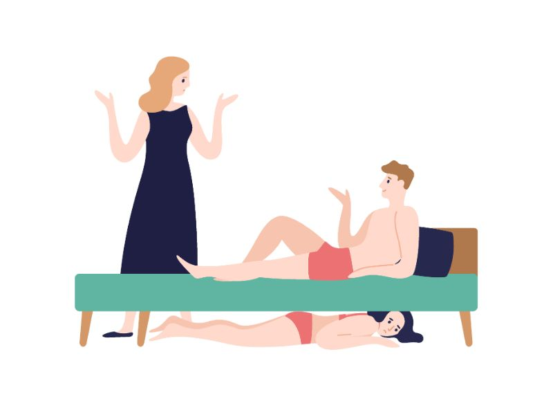 vector art of man lying in bed talking to partner while a woman in underwear is hiding under bed