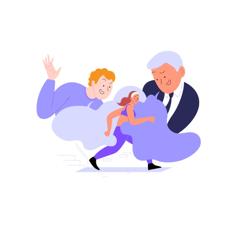 vector art of two men catcalling a female jogger