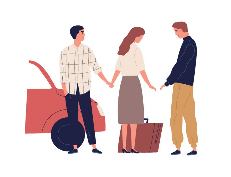 vector art of woman standing between two men saying goodbye to one of them