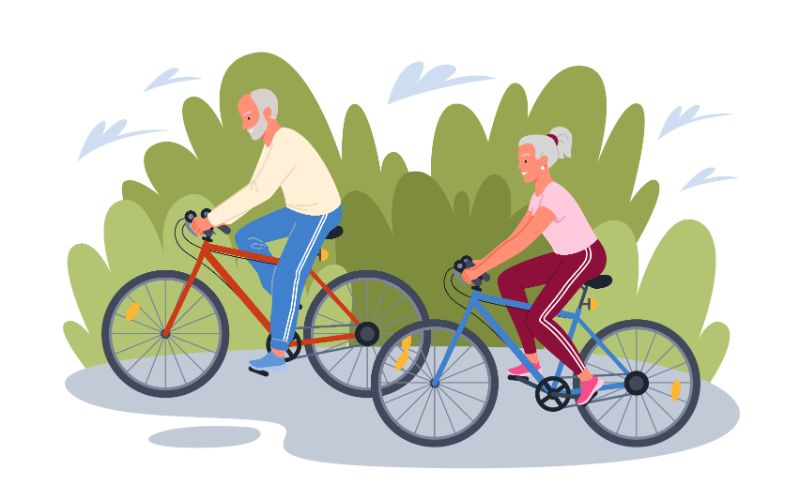 vector art of two seniors riding their bikes together
