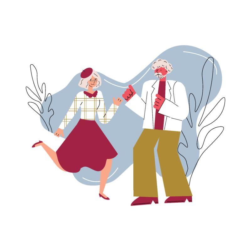 vector art of two fun seniors dancing