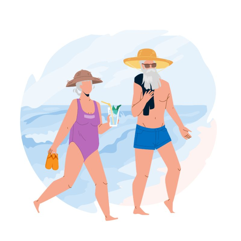 vector art of two seniors at the beach