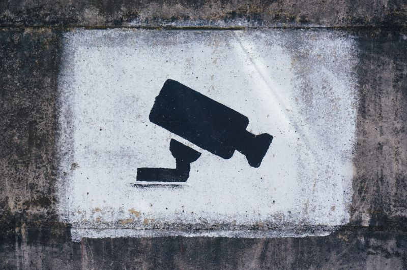 graffiti image of surveillance camera