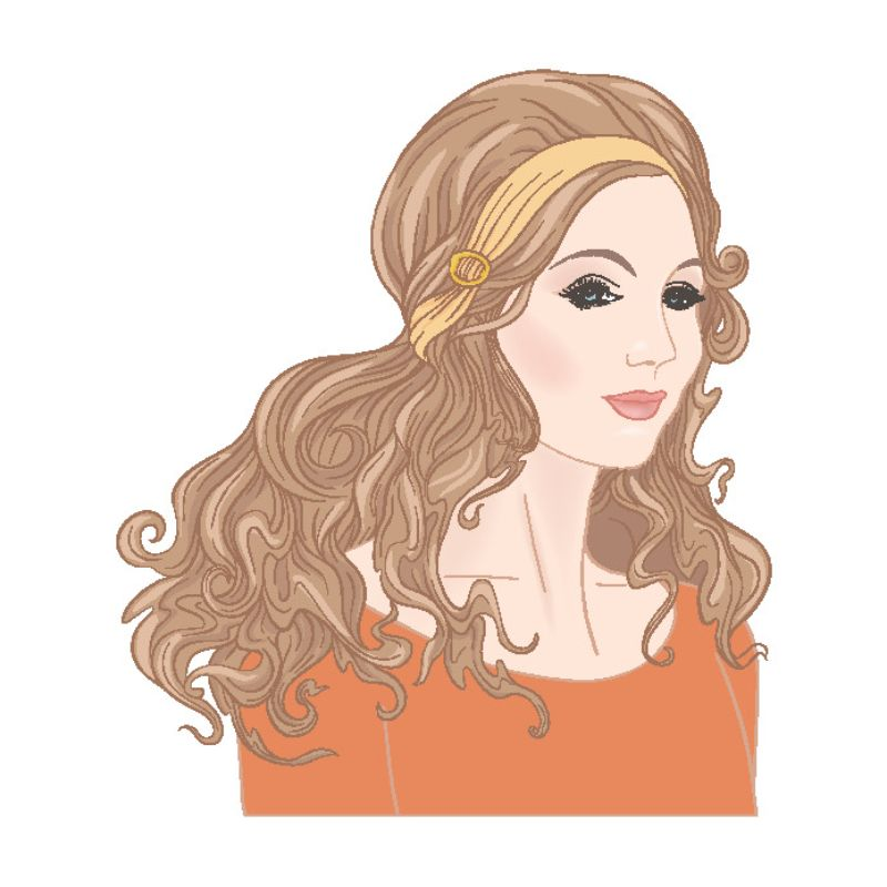 illustration of a woman with long hair