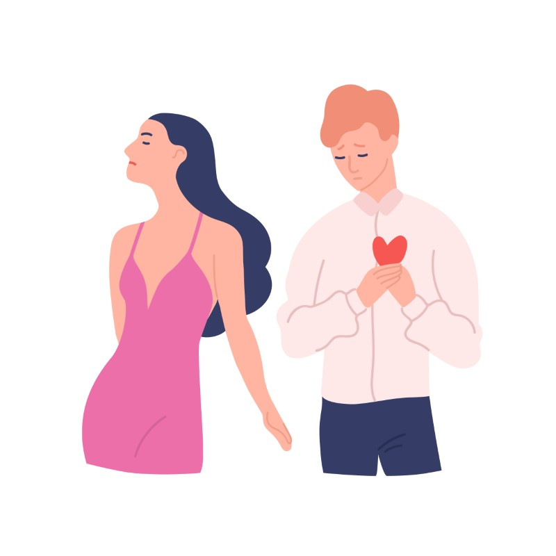 vector art of a guy being rejected by a woman