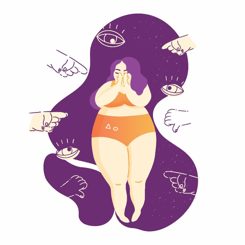 vector art of curvy woman being discriminated