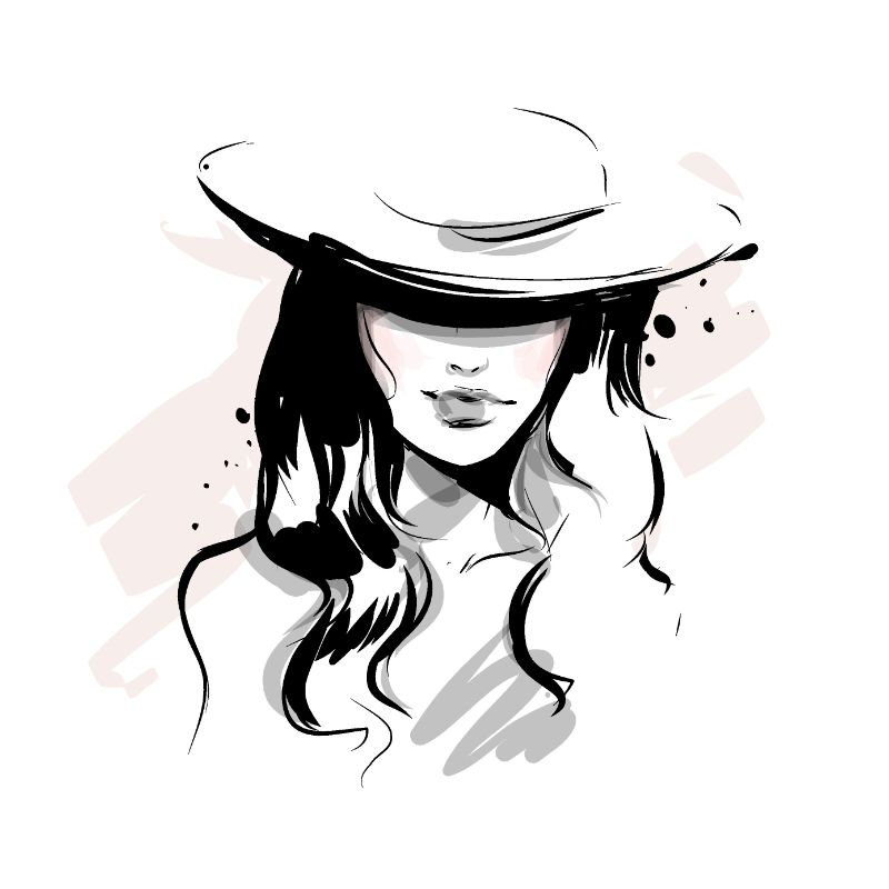 illustration of a woman with a hat